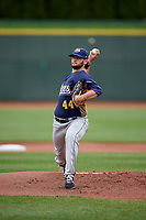 Burlington Bees starting pitcher Travis Herrin (44) delivers a pitch during a game against the Great Lakes Loons on May 4, 2017 at Dow Diamond in Midland, Michigan.  Great Lakes defeated Burlington 2-1.  (Mike Janes/Four Seam Images)