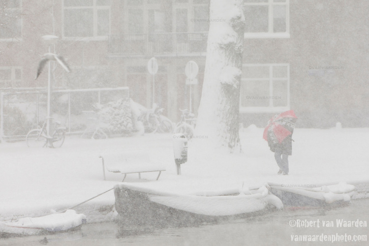 Winter snow scene in Amsterdam after a big snowfall.