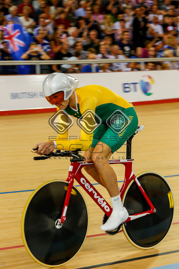 Michael Gallagher (AUS) set a new world record during his qualifying session for the Men's Individual C5 Pursuit, Track Cycling (Sat 1 Sep) - Velodrome,Paralympics - Summer / London 2012, London, England 29 Aug - 9 Sept , © Sport the library/Greg Smith