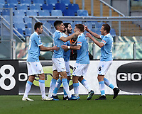 Football, Serie A: S.S. Lazio - Sampdoria, Olympic stadium, Rome, February 20, 2020. <br /> Lazio's Luis Alberto (c) celebrates after scoring with his teammates during the Italian Serie A football match between S.S. Lazio and Sampdoria at Rome's Olympic stadium, Rome, on February 20, 2021.  <br /> UPDATE IMAGES PRESS/Isabella Bonotto