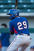 AZL Rangers first baseman Stanley Martinez (29) at bat during an Arizona League playoff game against the AZL Cubs 1 at Sloan Park on August 29, 2018 in Mesa, Arizona. The AZL Cubs 1 defeated the AZL Rangers 8-7. (Zachary Lucy/Four Seam Images)