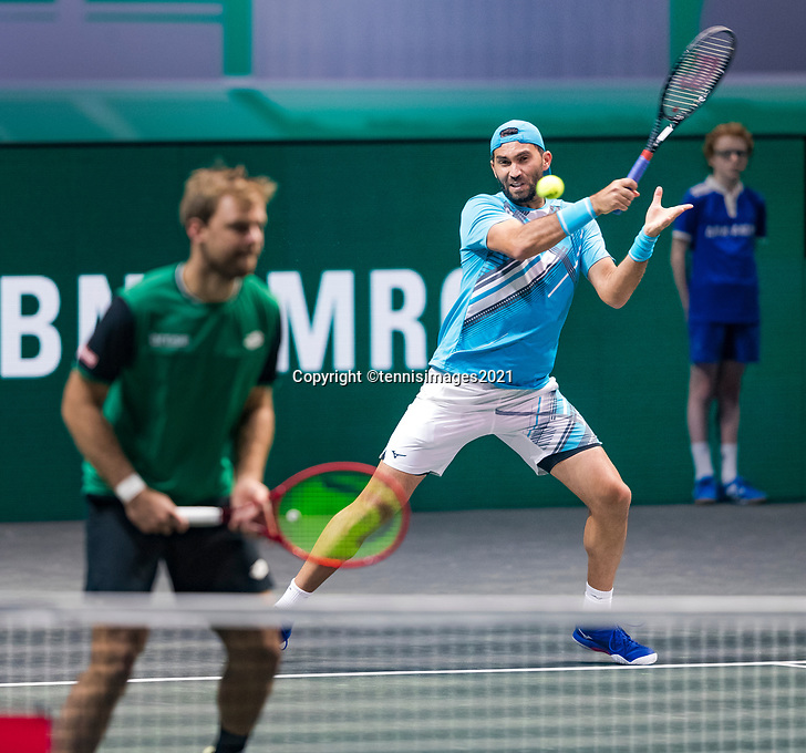 Rotterdam, The Netherlands, 6 march  2021, ABNAMRO World Tennis Tournament, Ahoy,  <br /> Semi final doubles: Kevin Krawietz (GER) / Horia Tecau (ROU).<br /> Photo: www.tennisimages.com/henkkoster