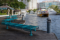 Ft. Lauderdale, Florida.  Double-decker Water Taxi Passing H. Wayne Huizenga Plaza, formerly Bubier Park.