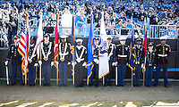 The Carolina Panthers played the San Francisco 49ers at Bank of America Stadium in Charlotte, NC in the NFC divisional playoffs on January 12, 2014.  The 49ers won 23-10.  Color guard before the game