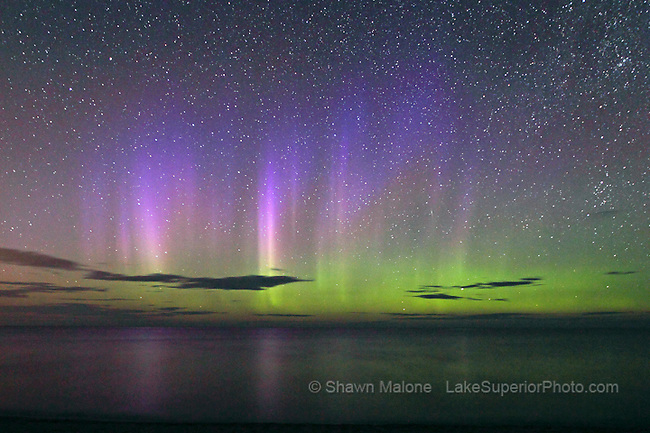 aurora borealis northern lights in the upper peninsula of michigan-subtle multi colored light pillars over Lake Superior, Marquette MI. Published in Smithsonian Space issue 2011, Featured on 08/10/2010 in Gizmodo, National Geographic Daily News, Mail Online UK, Telegraph UK, Detroit Daily News and other local media