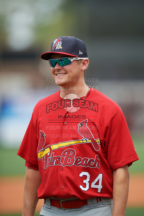 Palm Beach Cardinals pitcher Connor Jones (34) after a game against the Charlotte Stone Crabs on April 12, 2017 at Charlotte Sports Park in Port Charlotte, Florida.  Palm Beach defeated Charlotte 8-7 in ten innings.  (Mike Janes/Four Seam Images)
