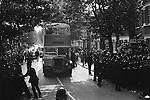 Grunwick Strike North London UK. Busses bring strik breakers - scabs - to the Grunwick factory.