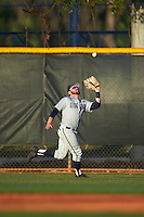 Georgetown Hoyas center fielder Beau Hall (4) catches a fly ball during a game against the Chicago State Cougars on March 3, 2017 at North Charlotte Regional Park in Port Charlotte, Florida.  Georgetown defeated Chicago State 11-0.  (Mike Janes/Four Seam Images)