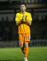 Danny Rowe of Wycombe Wanderers applauds the fans during the Johnstone's Paint Trophy match between Bristol Rovers and Wycombe Wanderers at the Memorial Stadium, Bristol, England on 6 October 2015. Photo by Andy Rowland.