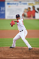 Salem Red Sox relief pitcher Joan Martinez (20) delivers a pitch during the first game of a doubleheader against the Potomac Nationals on June 11, 2018 at Haley Toyota Field in Salem, Virginia.  Potomac defeated Salem 9-4.  (Mike Janes/Four Seam Images)