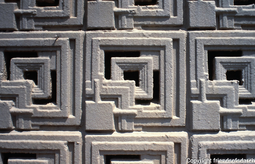 Frank Lloyd Wright:   Detail of textile block used in Ennis-Brown House.  Mayan influence. Photo 1976.