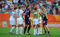 Players of team USA celebrate during the FIFA Women's World Cup at the FIFA Stadium in Dresden, Germany on June 28th, 2011.
