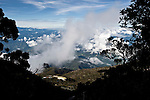 View whist descending from the summit of Mt Kinabalu with Laban Rata visible. Kinabalu Park, Sabah, Borneo.