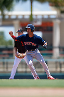 GCL Red Sox Matthew Lugo (46) leads off during a Gulf Coast League game against the GCL Orioles on July 29, 2019 at Ed Smith Stadium in Sarasota, Florida.  GCL Red Sox defeated the GCL Pirates 9-1.  (Mike Janes/Four Seam Images)