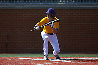 Christian Jayne (12) of the East Carolina Pirates squares to bunt against the Charlotte 49ers at Hayes Stadium on March 8, 2020 in Charlotte, North Carolina. The Pirates defeated the 49ers 4-1. (Brian Westerholt/Four Seam Images)