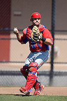 Philadelphia Phillies catcher Josh Ludy during a minor league Spring Training game against the New York Yankees at Carpenter Complex on March 21, 2013 in Clearwater, Florida.  (Mike Janes/Four Seam Images)