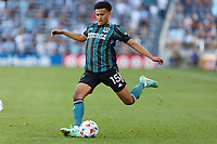 ST PAUL, MN - AUGUST 14: Niko Hamalainen #15 of the Los Angeles Galaxy kicks the ball during a game between Los Angeles Galaxy and Minnesota United FC at Allianz Field on August 14, 2021 in St Paul, Minnesota.