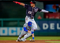 21 September 2018: Washington Nationals outfielder Juan Soto is out at second for the second out in the second inning against the New York Mets at Nationals Park in Washington, DC. The Mets defeated the Nationals 4-2 in the second game of their 4-game series. Mandatory Credit: Ed Wolfstein Photo *** RAW (NEF) Image File Available ***