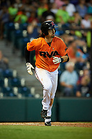 Richmond Flying Squirrels center fielder Ronnie Jebavy (1) runs to first base during a game against the Trenton Thunder on May 11, 2018 at The Diamond in Richmond, Virginia.  Richmond defeated Trenton 6-1.  (Mike Janes/Four Seam Images)