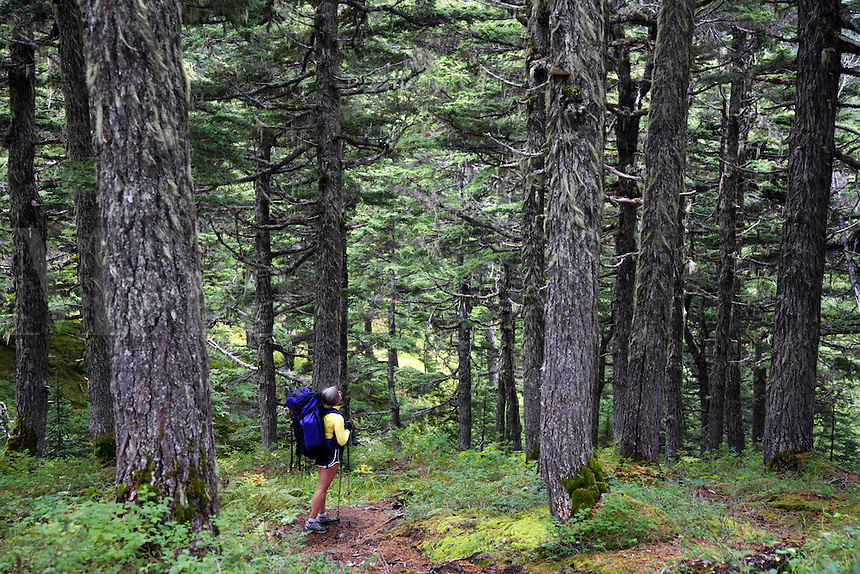 Backpacking on the Lost Lake Trail, Kenai Peninsula, Chugach National Forest, Alaska.