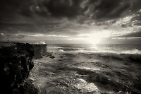 Sunrise and waves atKalilo Point. The Island of Hawaii. The Big island