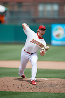 Memphis Redbirds relief pitcher Rowan Wick (33) delivers a pitch during a game against the Iowa Cubs on May 29, 2017 at AutoZone Park in Memphis, Tennessee.  Memphis defeated Iowa 6-5.  (Mike Janes/Four Seam Images)