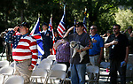 Supporters listen to the National Anthem during the Nevada National Guard's 23rd annual Flag Day ceremony in Carson City, Nev., on Monday, June 14, 2021. <br /> Photo by Cathleen Allison
