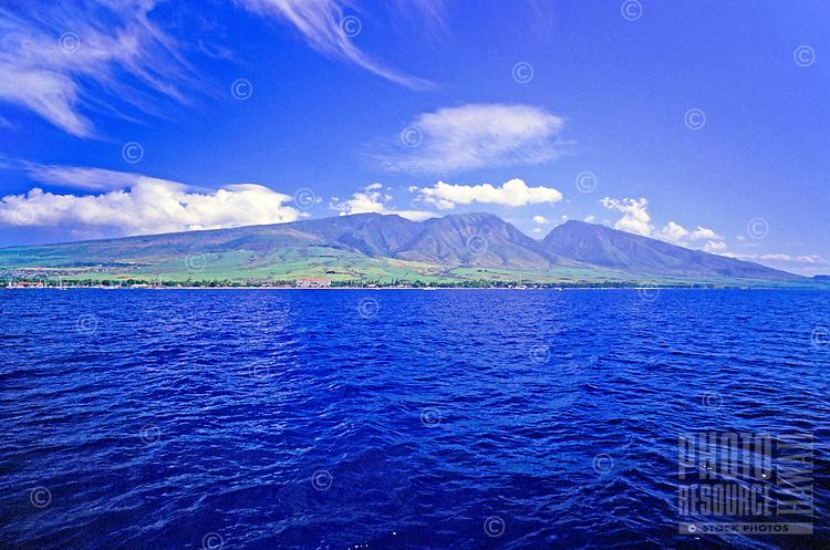 Aerial shot of the island of Maui toward the Lahaina coast.