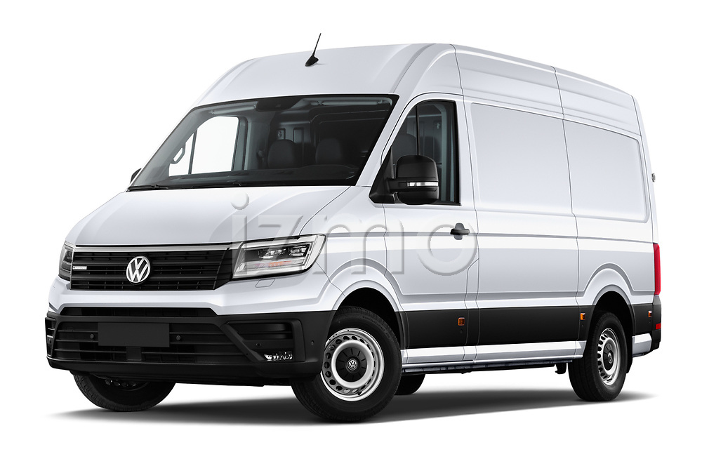 Stock pictures of low aggressive front three quarter view of 2020 Volkswagen Crafter e-Crafter 4 Door Cargo Van Low Aggressive