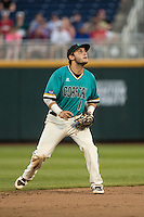 Michael Paez #1 of the Coastal Carolina Chanticleers fields during a College World Series Finals game between the Coastal Carolina Chanticleers and Arizona Wildcats at TD Ameritrade Park on June 27, 2016 in Omaha, Nebraska. (Brace Hemmelgarn/Four Seam Images)