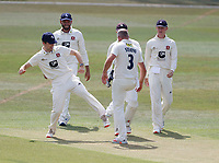 Kent players practice a socially distanced celebration after Darren Stevens took the wicket of Philip Salt during Kent CCC vs Sussex CCC, Bob Willis Trophy Cricket at The Spitfire Ground on 8th August 2020