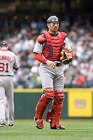 July 23, 2008:  Boston Red Sox catcher Jason Varitek walks back to home plate after meeting on the mound with starting pitcher Clay Buchholz.