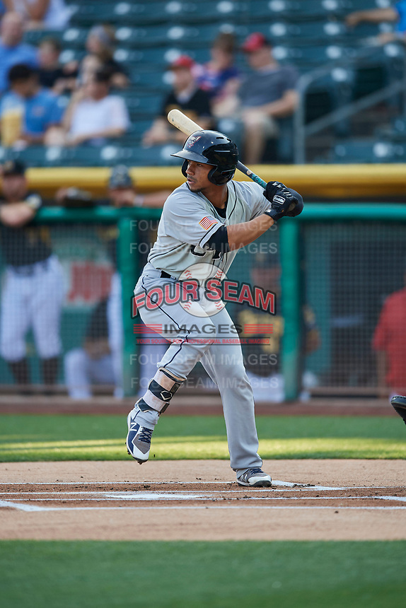 Francisco Mejia (12) of the El Paso Chihuahuas bats against the Salt Lake Bees at Smith's Ballpark on August 14, 2018 in Salt Lake City, Utah. El Paso defeated Salt Lake 6-3. (Stephen Smith/Four Seam Images)