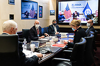 Vice President Mike Pence meets with members of the White House Coronavirus Task Force Wednesday, May 13, 2020, in the Secure Media Suite of the White House.<br /> <br /> People:  Vice President Mike Pence