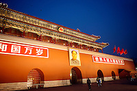 A portrait of Chairman Mao above Tiananmen gate at the entrance to the forbidden city in Beijing, China..