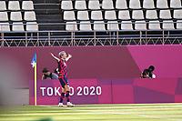 KASHIMA, JAPAN - AUGUST 5: Megan Rapinoe #15 of the United States celebrates scoring before a game between Australia and USWNT at Kashima Soccer Stadium on August 5, 2021 in Kashima, Japan.