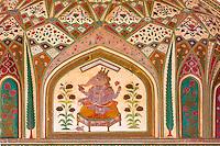 Jaipur, Rajasthan, India.  Hindu God Ganesh above the  Ganesh Pol, the Entrance to the Maharaja's Private Quarters, Amber (or Amer) Palace, near Jaipur.