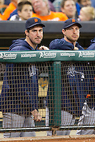 Detroit Tigers pitchers Justin Verlander and Max Scherzer in the dugout during the MLB baseball game against the Houston Astros on May 3, 2013 at Minute Maid Park in Houston, Texas. Detroit defeated Houston 4-3. (Andrew Woolley/Four Seam Images).