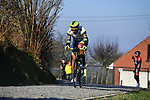 Breakaway rider Ludwig De Winter (BEL) Intermarché-Wanty-Gobert climbs Oude Kwaremtont during the 73rd edition of Kuurne-Brussel-Kuurne 2021 running 197km from Kuurne to Kuurne, Belgium. 28th February 2021  <br /> Picture: Serge Waldbillig | Cyclefile<br /> <br /> All photos usage must carry mandatory copyright credit (© Cyclefile | Serge Waldbillig)