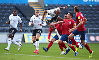 17th October 2020; Liberty Stadium, Swansea, Glamorgan, Wales; English Football League Championship Football, Swansea City versus Huddersfield Town; Andre Ayew of Swansea City wins the header but misses the target