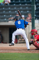Missoula Osprey designated hitter Nick Dalesandro (8) at bat in front of catcher Griffin Barnes (28) during a Pioneer League game against the Orem Owlz at Ogren Park Allegiance Field on August 19, 2018 in Missoula, Montana. The Missoula Osprey defeated the Orem Owlz by a score of 8-0. (Zachary Lucy/Four Seam Images)