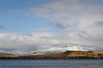Squaw Mountain and Moose Island in November with snow.