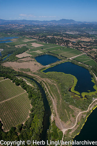 Aerial photograph Russian River at Healdsburg Sonoma Coast Pinot Noir vineyards
