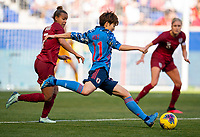 HARRISON, NJ - MARCH 08: Riko Ueki #11 of Japan takes a shot during a game between England and Japan at Red Bull Arena on March 08, 2020 in Harrison, New Jersey.