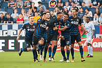 Kansas City, KS - Wednesday August 9, 2017: Nick Lima, Danny Hoesen, Darwin Ceren, Francois Affolter, celebrate, celebration during a Lamar Hunt U.S. Open Cup Semifinal match between Sporting Kansas City and the San Jose Earthquakes at Children's Mercy Park.