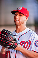 26 September 2018: Washington Nationals pitcher Austin Voth walks the dugout prior to a game against the Miami Marlins at Nationals Park in Washington, DC. The Nationals defeated the visiting Marlins 9-3, closing out Washington's 2018 home season. Mandatory Credit: Ed Wolfstein Photo *** RAW (NEF) Image File Available ***