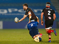 8th January 2021; RDS Arena, Dublin, Leinster, Ireland; Guinness Pro 14 Rugby, Leinster versus Ulster; Stuart McCloskey of Ulster offloads the ball as he is tackled by Caelan Doris of Leinster