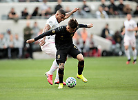 LOS ANGELES, CA - MARCH 01: Brian Rodríguez #17 of LAFC battles Roman Torres #29 of Inter Miami CF during a game between Inter Miami CF and Los Angeles FC at Banc of California Stadium on March 01, 2020 in Los Angeles, California.