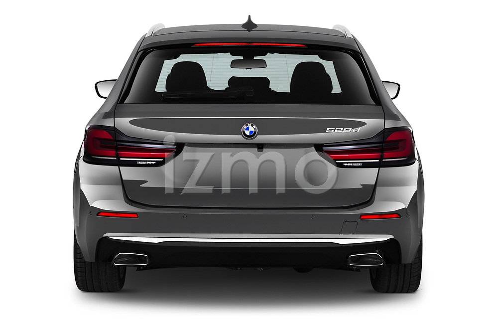 Straight rear view of 2021 BMW 5-Series Luxury 5 Door Wagon Rear View  stock images