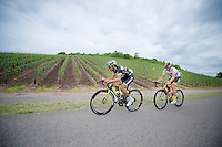 Dube Quintero (COL) & Jay Thomson (RSA) leading the stage for most of the day through the Luxemburg vineyards<br /> <br /> 2013 Skoda Tour de Luxembourg<br /> stage 1: Luxembourg - Hautcharage (184km)